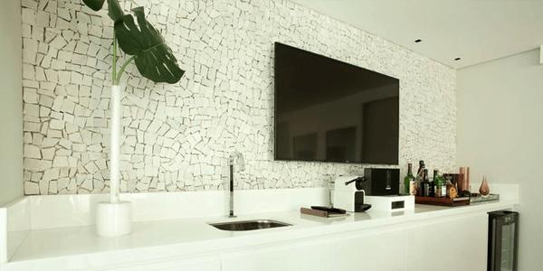 Decoração da Sala com Parede em Pedra Portuguesa