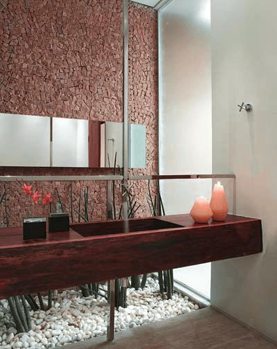 Lavabo com Pedra Portuguesa Vermelha